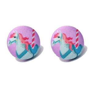 Enchanted Carousel Fantasy Land Fabric Button Earrings