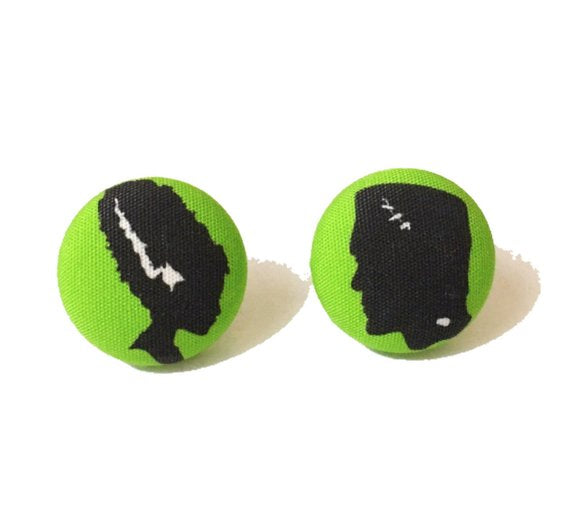 Frankenstein & Bride Silhouette Inspired Fabric Button Earrings