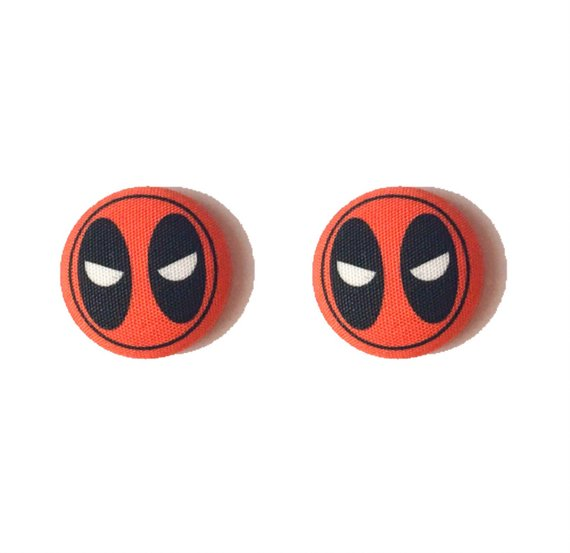 Deadpool Inspired Fabric Button Earrings