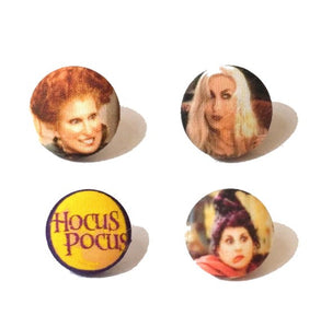 Hocus Pocus Witches Inspired Halloween Fabric Button Earrings