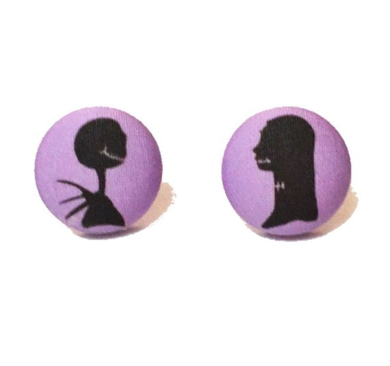 Jack & Sally Skellington Nightmare Before Christmas Silhouette Fabric Button Earrings