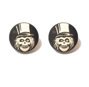Hat Box Ghost Fabric Button Earrings - Haunted Mansion