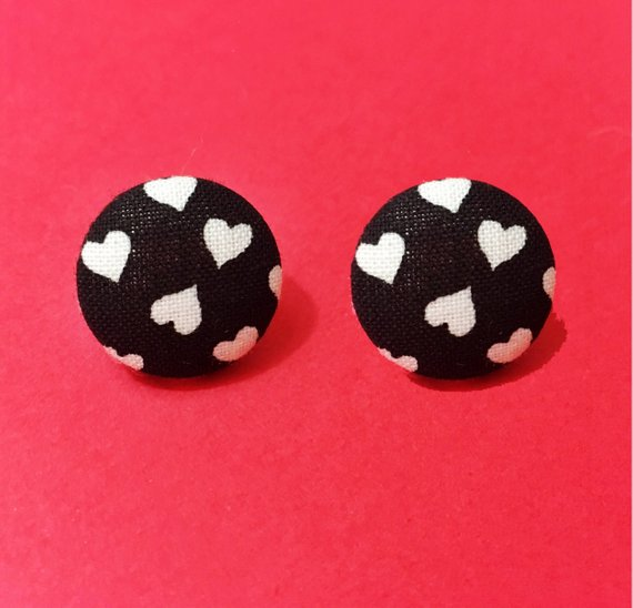 Black & White Heart Fabric Button Earrings