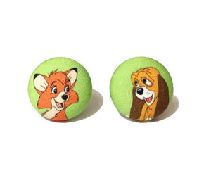 Tod & Copper Inspired Fabric Button Earrings - Green Background