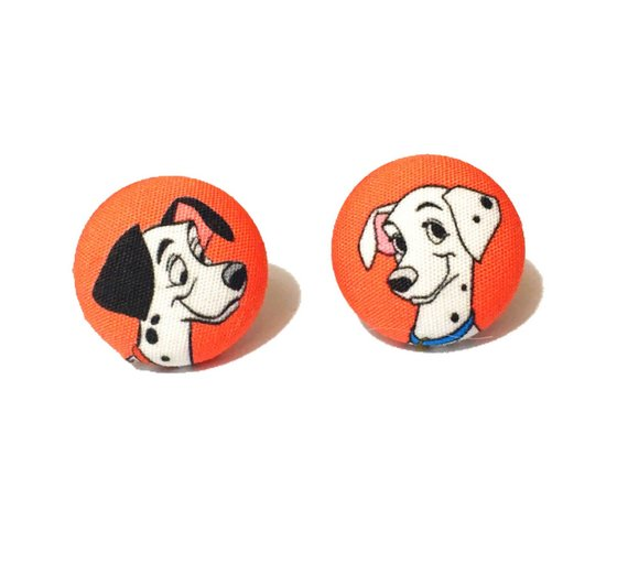 Pongo and Perdita 101 Dalmatians Inspired Fabric Button Earrings