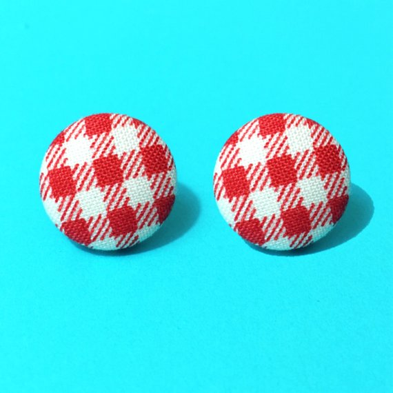 Red Gingham Fabric Button Earrings