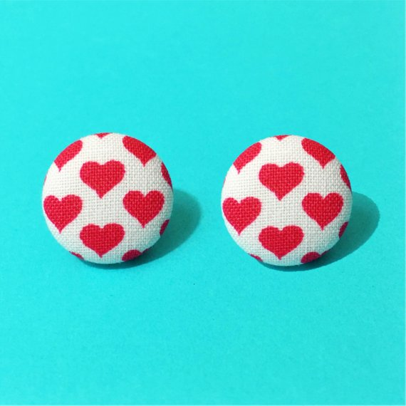 Red & White Heart Fabric Button Earrings