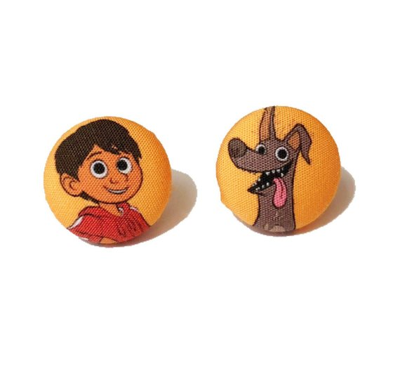 Miguel & Dante Coco Inspired Fabric Button Earrings