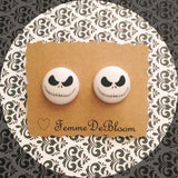 Jack Skellington Head Nightmare Before Christmas Inspired Fabric Button Earrings