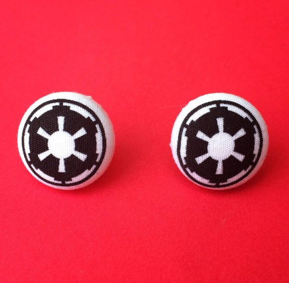 Galactic Empire  Fabric Button Earrings