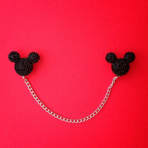 """Sparkle Mouse"" Black Mouse Head Collar Clips or Sweater Guards"