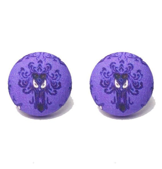 Haunted Mansion Wallpaper Inspired Fabric Button Earrings