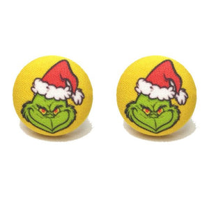 Grinch Who Stole Christmas Dr. Seuss Inspired Fabric Button Earrings