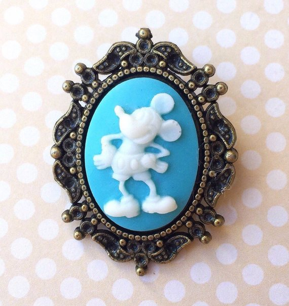 Vintage Mickey Mouse Inspired Bronze Cameo Pin