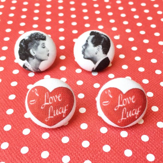 I Love Lucy Inspired Fabric Button Earring Set