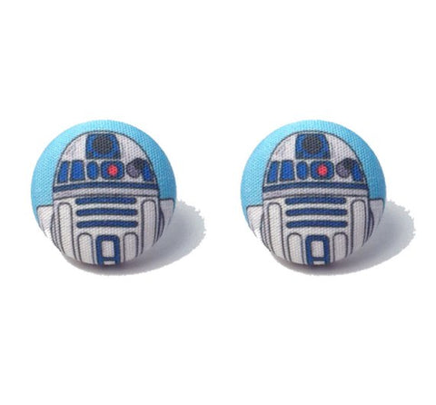 R2D2 Inspired Fabric Button Earrings