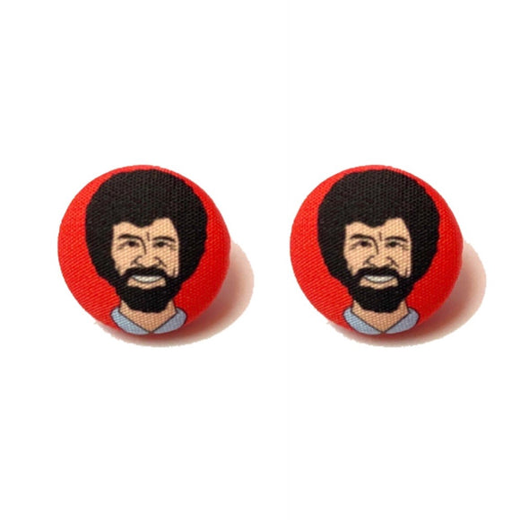 Bob Ross Fabric Button Earrings