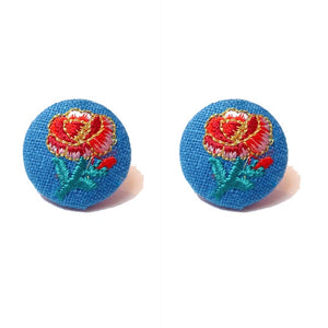 Embroidered Rose Denim Fabric Button Earrings