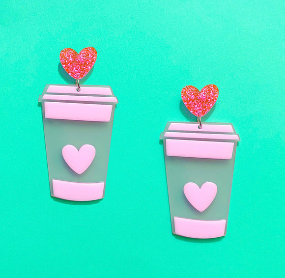 Pink Pastel Latte Coffee Heart Drop Earrings