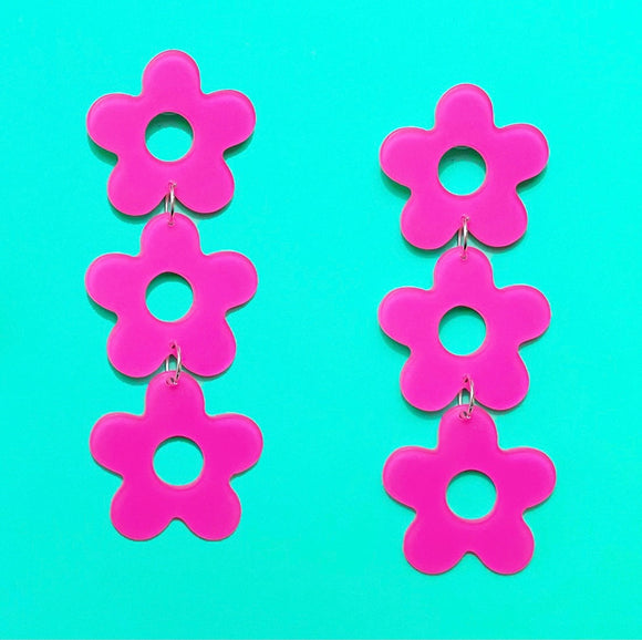 Pink Stacked Flower Retro Acrylic Drop Earrings