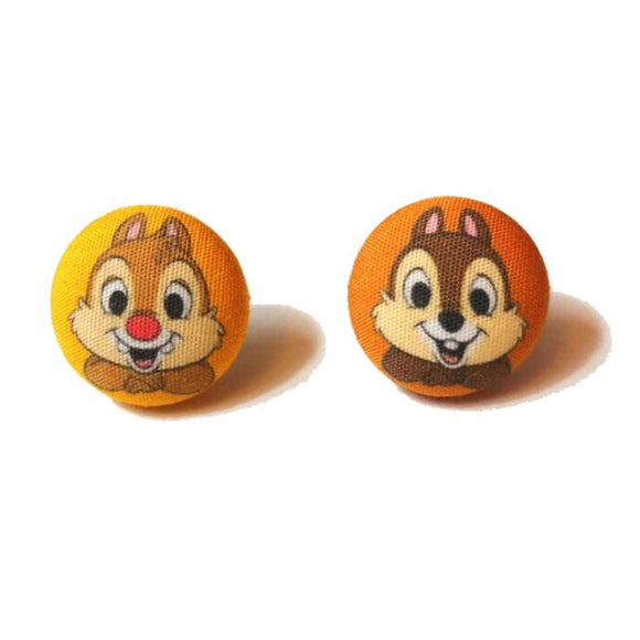 Chip & Dale Fabric Button Earrings