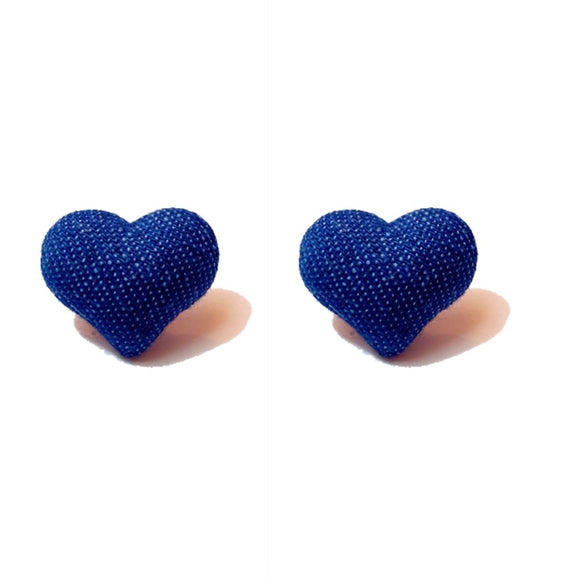 Dark Denim Heart Fabric Button Earrings