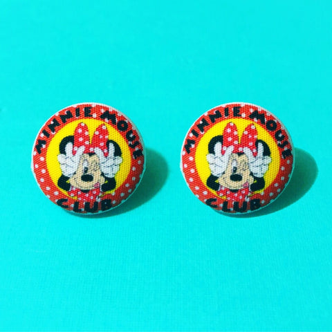 Modern Minnie Mouse Club Fabric Button Earrings