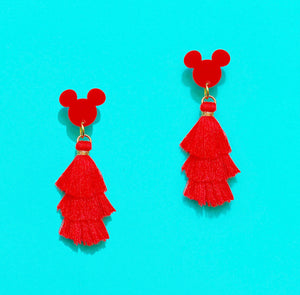 Red Mini Mouse Triple Layer Tassel Drop Earrings
