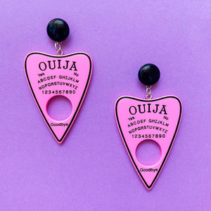 Pink & Black Large Ouija Board Drop Earrings