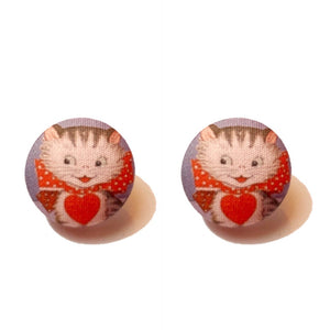 Vintage Kitty Cat Valentine Fabric Button Earrings
