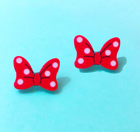 Matte Polka Dot Minnie Mouse Bow Red Post Earrings