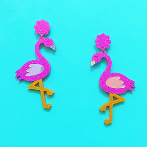 Sparkle Flamingo Acrylic Drop Earrings