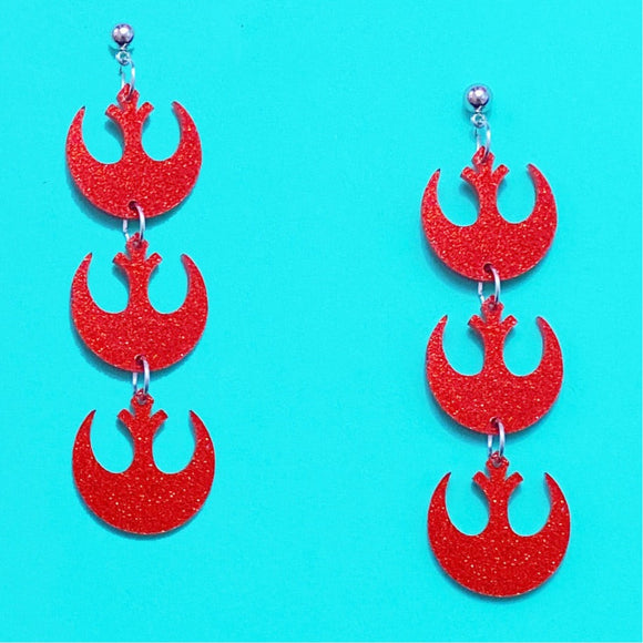 Red Glitter Rebel Alliance Stacked Drop Earrings