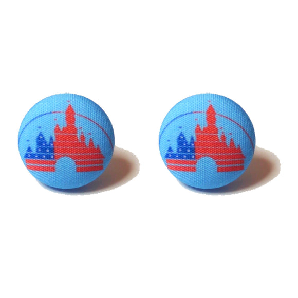 American Flag Disney Castle Fabric Button Earrings
