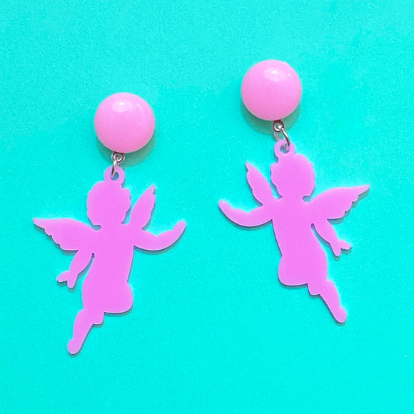 Pink Cupid Silhouette Heart Drop Earrings