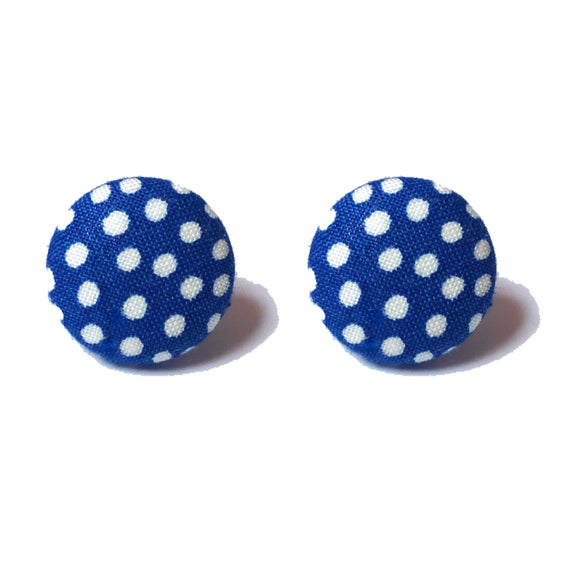 Navy Blue & White Polka Dot Fabric Button Earrings