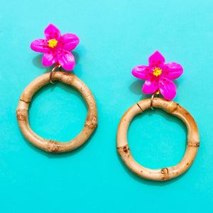 Pink Hibiscus Bamboo Hoop Drop Earrings
