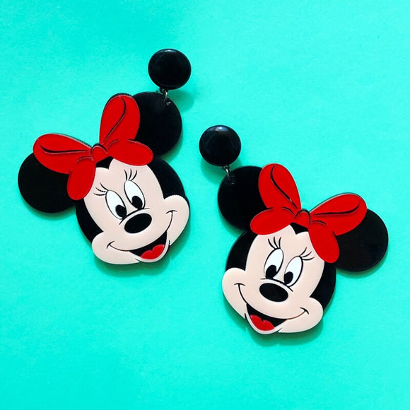 Minnie Mouse Large Acrylic Drop Earrings