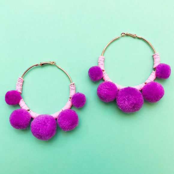 Purple Pom Pom Hoop Earrings