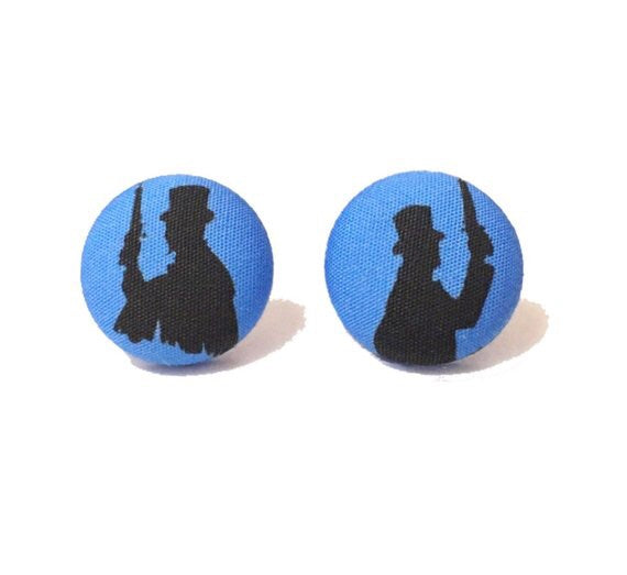 Dueling Ghosts Silhouette Haunted Mansion Fabric Button Earrings