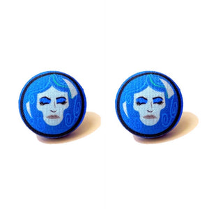 Madame Leota Haunted Mansion Inspired Fabric Button Earrings