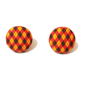 Gryffindor Argyle Print Harry Potter Inspired Fabric Button Earring