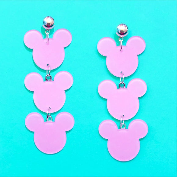 Pastel Pink Triple Mouse Drop Earrings