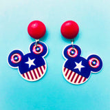 Captain America Mouse Drop Earrings