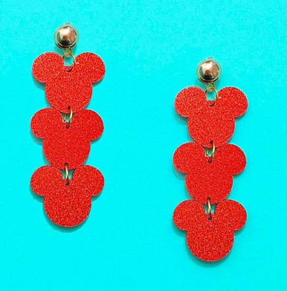 Red Glitter Triple Mouse Drop Earrings