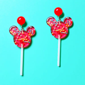 Red Mouse Sprinkles Lollipop Drop Earrings