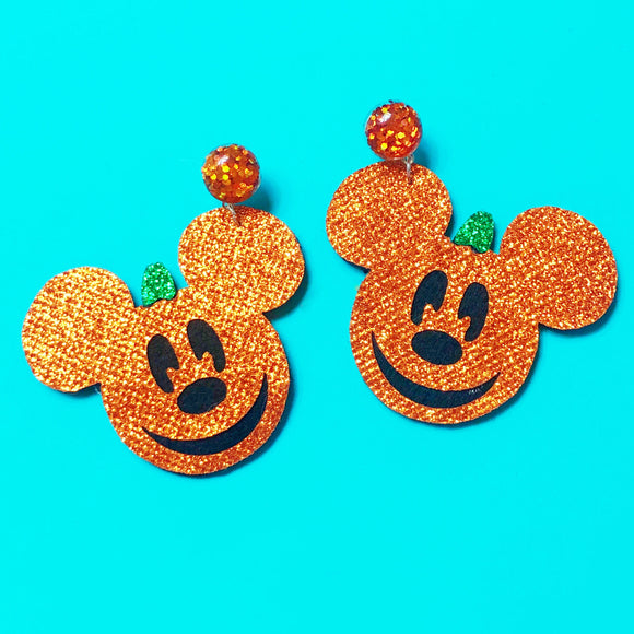 Sparkle Mouse Jack-O-Lantern Pumpkin Drop Earrings