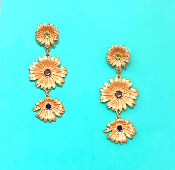 Triple Layer Sunflower Enamel Drop Earrings