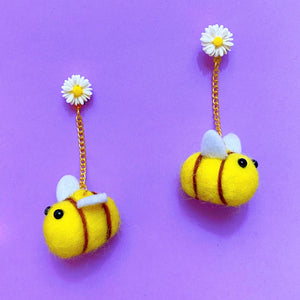 Honey Bee Daisy Wool Felt Pom Pom Drop Earrings