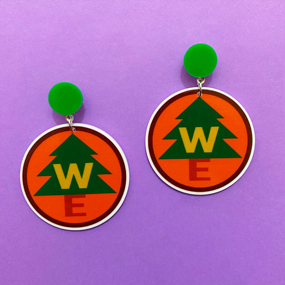 Wilderness Explorer Badge Acrylic Drop Earrings